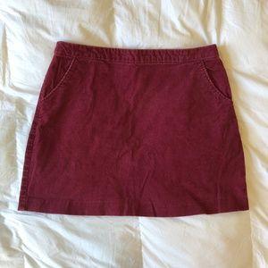 H&M Burgundy Corduroy Mini Skirt